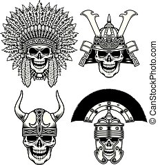 Set of Warrior Skull Characters