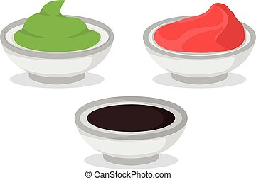 Set of wasabi soy sauce and ginger isolated on white, cartoon vector illustration. Bowl for asian japanese cuisine concept