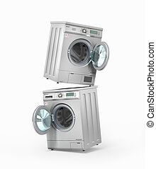 Set of washing and dryer machine on a white background. 3d...