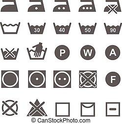 Set of washing symbols. Laundry icons isolated on white background