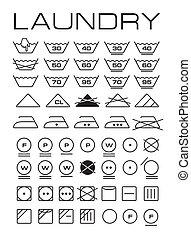 Set of washing symbols (Washing instruction symbols,...