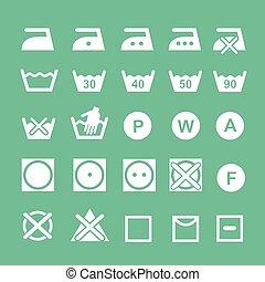 Set of washing   symbols Washing instruction symbols, white