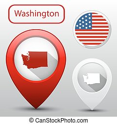 Set of Washington state with flag america and map pointer