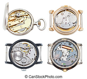 set of old wristwatches with mechanical and quartz movement isolated on white background