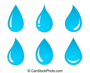 set of water drop icons - set of blue water drop icons on...