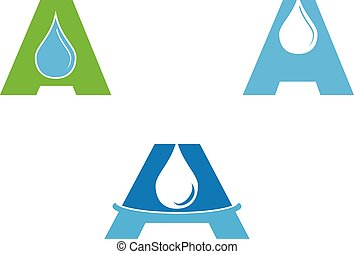Set of Water Drop Letter A Initial Logo Template