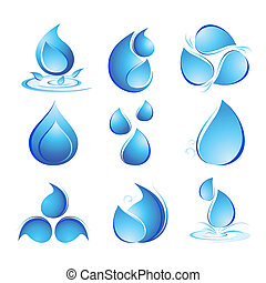 Set of Water Drops - illustration of set of water drops in...