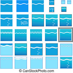 Set of water emblem icons isolated