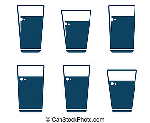 set of water glass icons