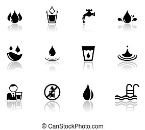 set of water icons with reflection silhouette