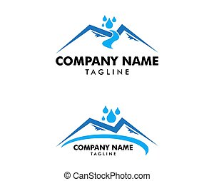 Set of Water Mountain Logo Design Template Element
