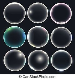 set of water or soap bubbles