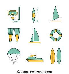 Set of water sport icons flat design vector illustration
