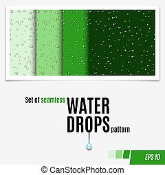 Set of water transparent drops seamless pattern