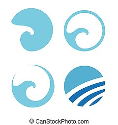 Set of Water wave logos