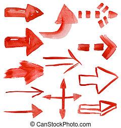 Set of watercolor arrows
