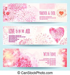 Watercolor Banners with Hearts. Vector illustration, eps10