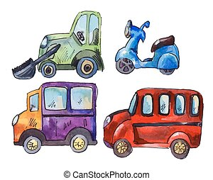 set of watercolor car stickers