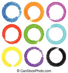 Set of Watercolor Colorful Grunge Circle Stains, vector...