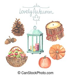 Set of watercolor cute autumn elements. Candles, pumpkins,...