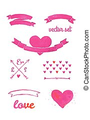 Set of watercolor elements for wedding design, save the date. Vintage wedding ribbons collection.