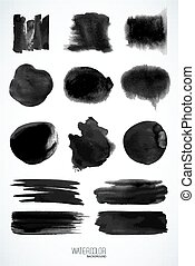 Set of watercolor elements, isolated on white, for trendy design. Vector Illustration