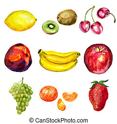Set of watercolor fruits: lemon, kiwi, cherry, nectarin or...