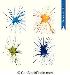 Set of watercolor handdrawn blots