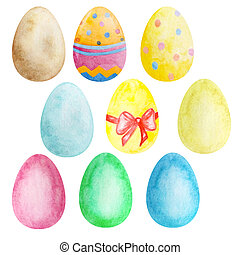 Set of watercolor multicolored Easter eggs