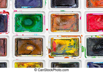Set of watercolor paints. close up. creative photo.