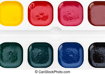 Set of watercolor paints. close up. creative photo