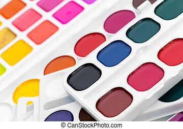 Set of watercolor paints. close up. creative photo