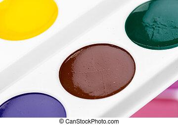Set of watercolor paints. close up. creative photo.