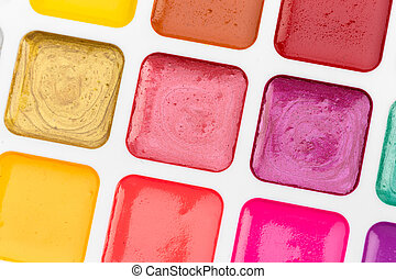 Set of watercolor paints. Creative Photo. close up