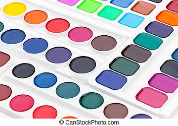 Set of watercolor paints. Creative Photo. close up