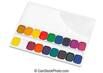 Set of watercolor paints. Macro photo. Close up.