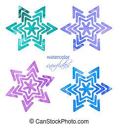 Set of watercolor snowflakes