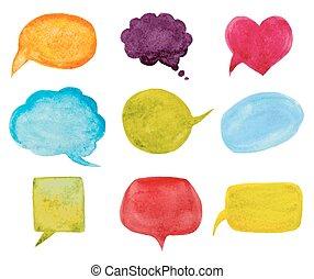set of watercolor speech bubbles. vector illustration