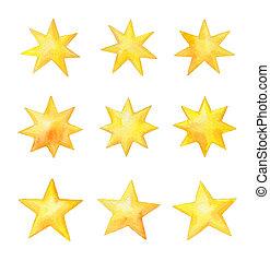 Set of watercolor stars