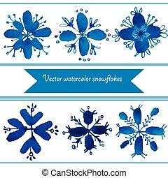 Set of watercolor vector snowflakes