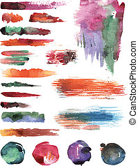 Set of watercolor vector strokes