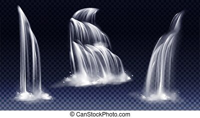 Set of waterfalls with cascade, splash and fog