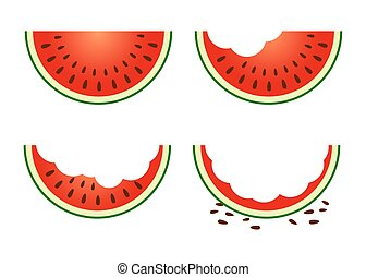 Set of Watermelon Fruit Eating Stage