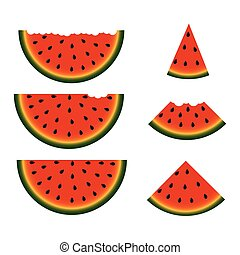 Set of watermelon slices. Vector.