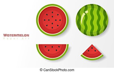 Set of watermelons in paper art style