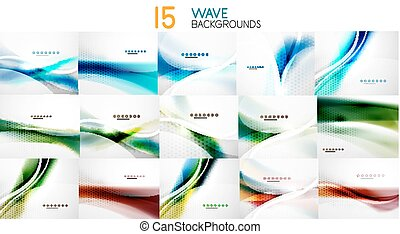 Set of wave abstract business backgrounds