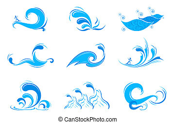 Set of Wave Symbol - illustration of set of wave symbol on...