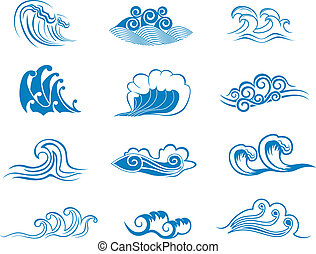 Set of wave symbols for design isolated on white