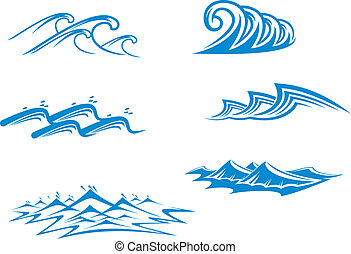 Set of wave symbols for design isolated on white