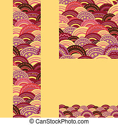 Set of waves seamless pattern and borders backgrounds